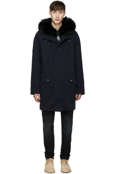 Yves Salomon - Navy Fur-Lined Original Parka