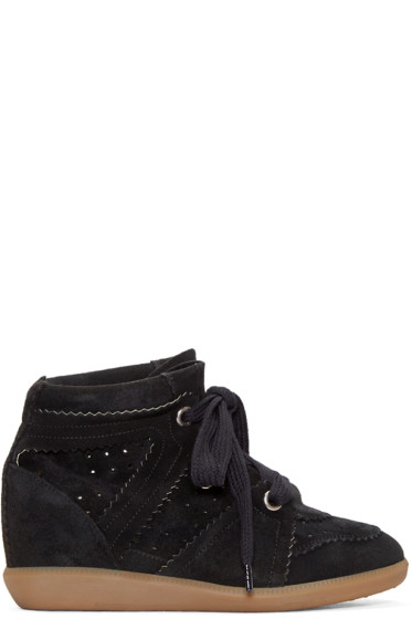 Isabel Marant -  Black Bobby Wedge Sneakers