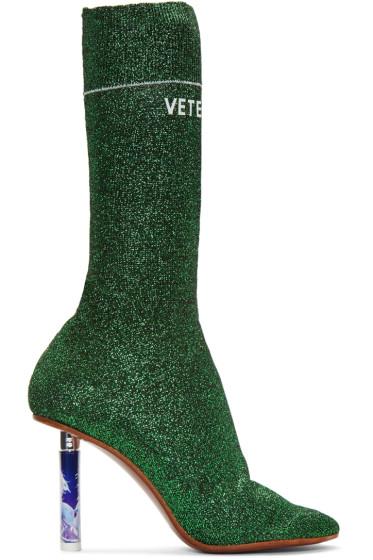 Vetements - Green Metallic Logo Sock Boots