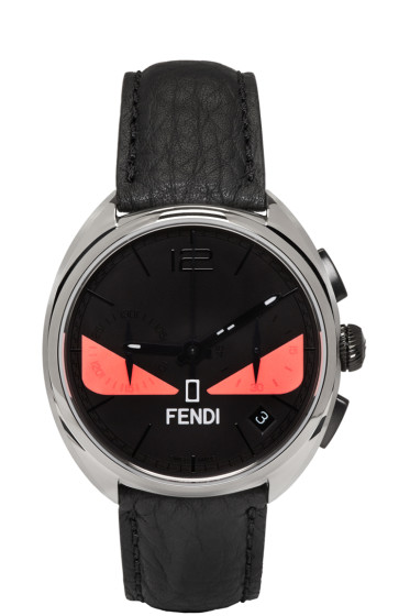 Fendi - Silver & Black Momento Bugs Watch