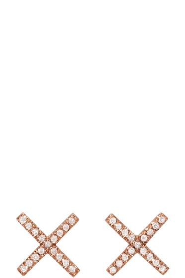 Eva Fehren - Rose Gold & Diamond X Studs
