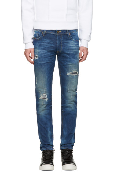 Diesel - Blue Destroyed Sleenker Jeans