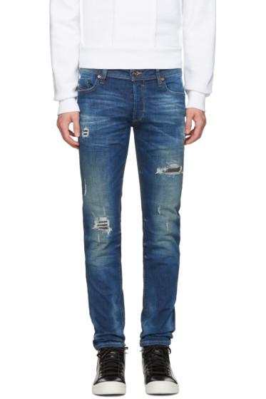 Diesel - Blue Destroyed Sleenker Jeans