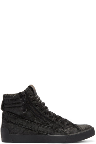 Diesel - Black D-String Plus High-Top Sneakers