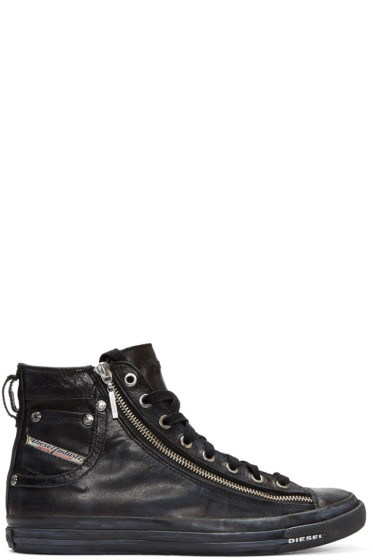 Diesel - Black Expo-Zip High-Top Sneakers