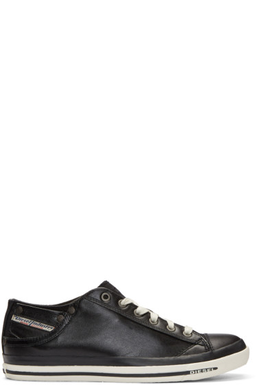 Diesel - Black Leather Exposure Sneakers