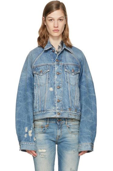 R13 - Blue Denim Raglan Trucker Jacket