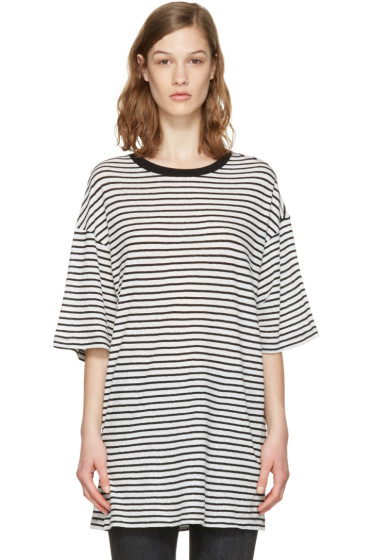R13 - White Striped Boyfriend T-Shirt