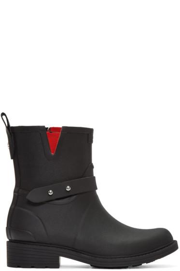 Rag & Bone - Black Moto Rain Boots
