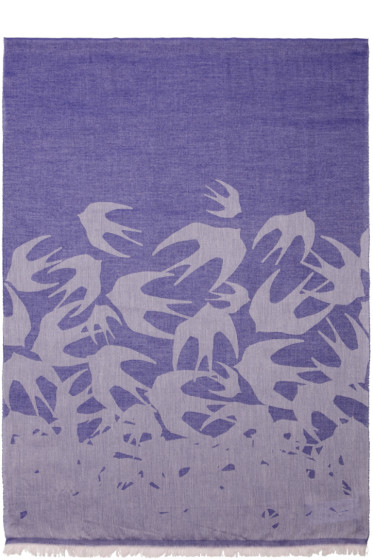 McQ Alexander Mcqueen - Purple Swallows Scarf