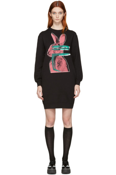 McQ Alexander Mcqueen - Black Glitch Bunny Classic Dress