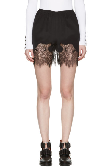 McQ Alexander Mcqueen - Black Fluid Lace Shorts