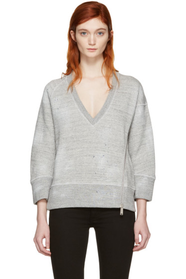 Dsquared2 - Grey V-Neck Zip Sweatshirt