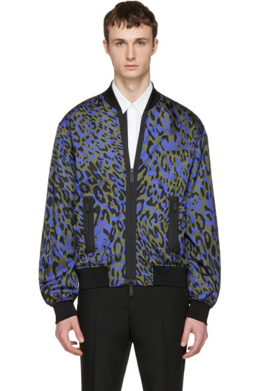 Dsquared2 - Green Glam Leopard Bomber Jacket