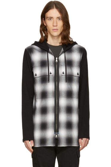 Helmut Lang - Black Check Combo Hoodie