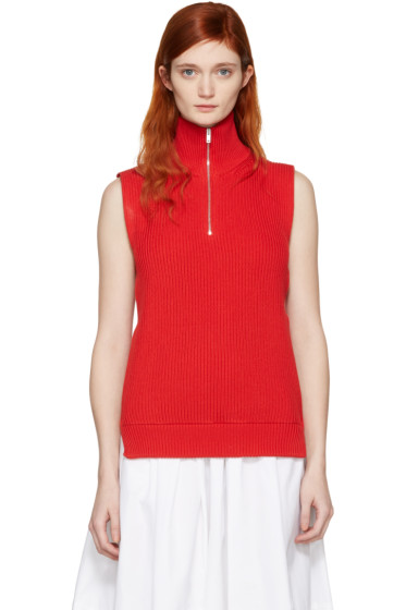 Maison Margiela - Red Ribbed Turtleneck