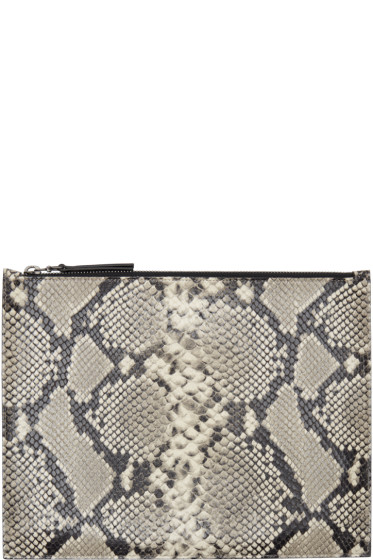 Maison Margiela - Taupe Snake-Embossed Document Holder