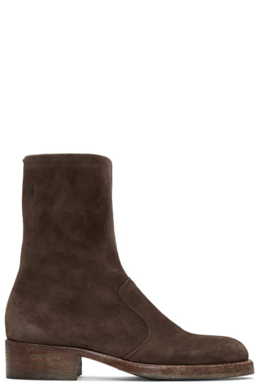 Maison Margiela - Brown Suede Zip Boots