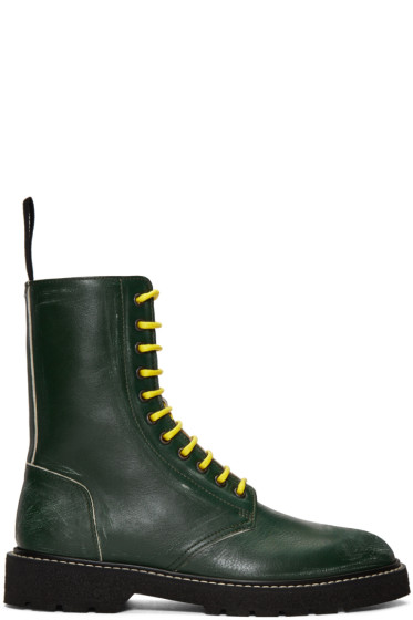Maison Margiela - Green Leather Distressed Boots