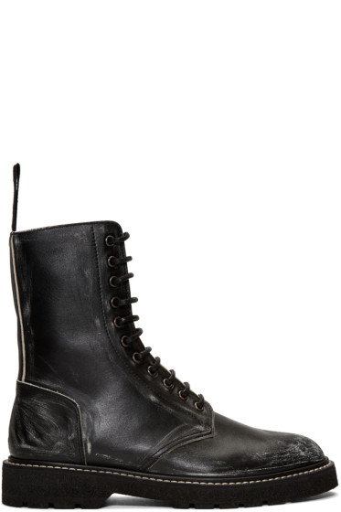 Maison Margiela - Black Leather Distressed Boots