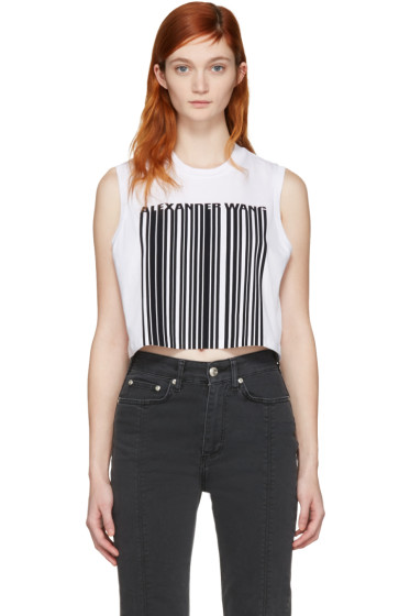Alexander Wang - White Cropped Barcode Tank Top