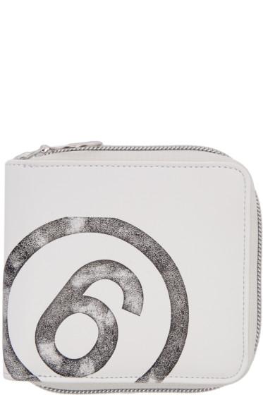 MM6 Maison Margiela - White Faux-Leather Wallet