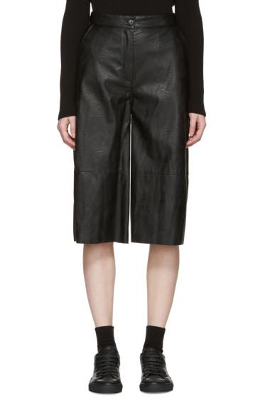 MM6 Maison Margiela - Black Faux-Leather Culottes