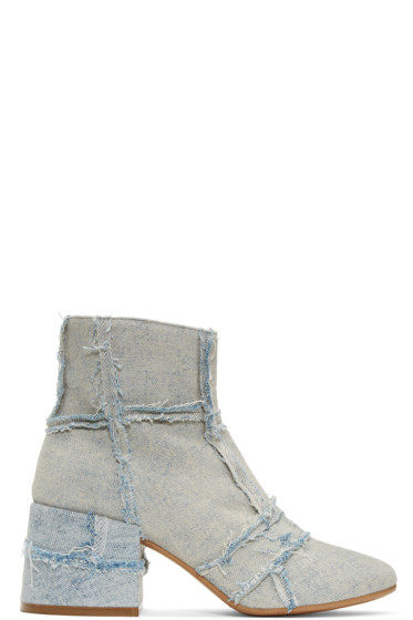 MM6 Maison Margiela - Blue Denim Cube Boots