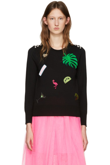 Marc Jacobs - Black Embroidered Wool Pullover