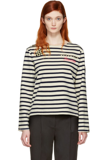 Marc Jacobs - Ecru Striped 'Paradise' Long Sleeve T-Shirt