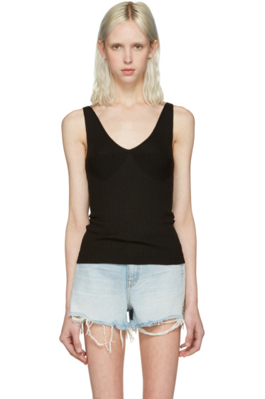 T by Alexander Wang - Black Merino Ribbed Tank Top