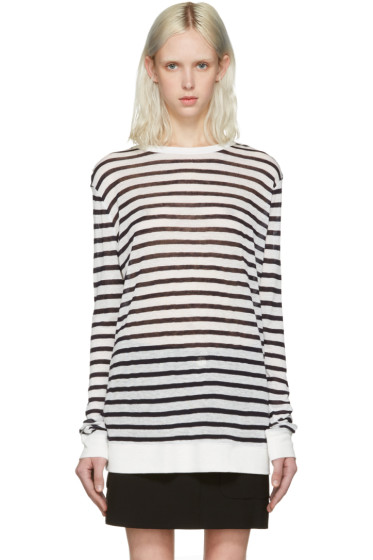 T by Alexander Wang - Navy & Ivory Striped T-Shirt