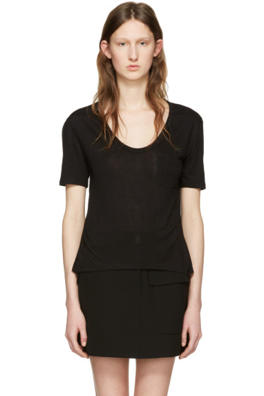 T by Alexander Wang - Black Jersey Pocket T-Shirt
