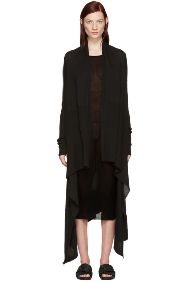 Rick Owens - Black Long Wrap Cardigan