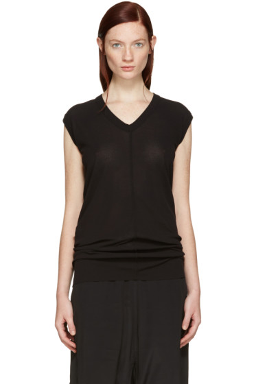 Rick Owens - Black V-Neck T-Shirt