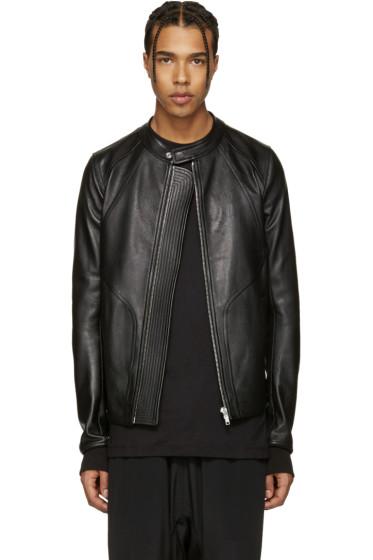 Rick Owens - Black Leather Panelled Jacket