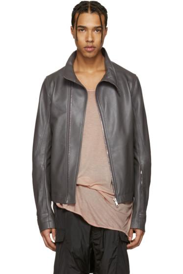 Rick Owens - Grey Leather Molinos Biker Jacket