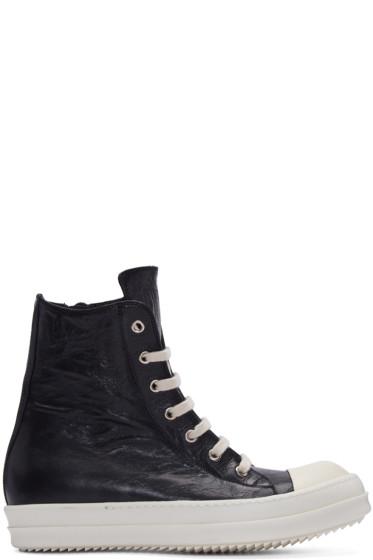 Rick Owens - Black Distressed High-Top Sneakers