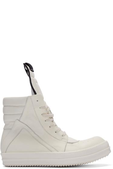 Rick Owens - Ivory Geobasket High-Top Sneakers