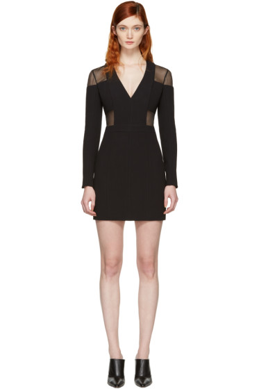 Balmain - Black Panelled Deep V-Neck Dress