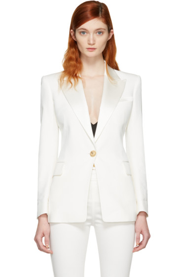 Balmain - White Single Button Blazer
