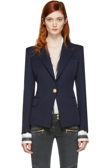Balmain - Navy Single Button Blazer