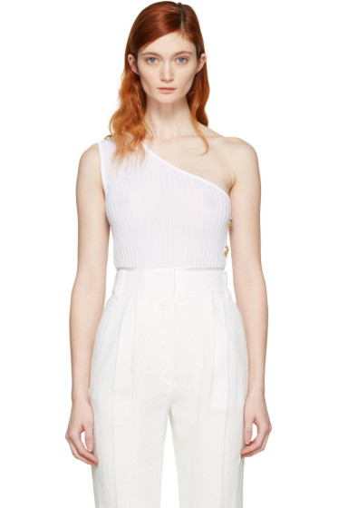 Balmain - White Single-Shoulder Tank Top