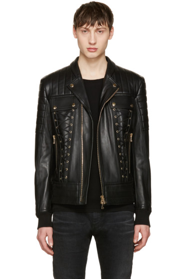 Balmain - Black Leather Lace-Up Biker Jacket