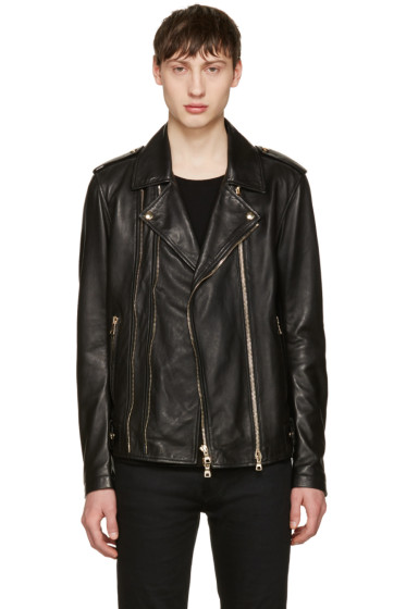 Balmain - Black Leather Biker Jacket
