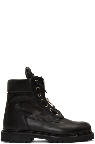 Balmain - Black Perforated Taiga Boots