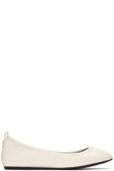 Lanvin - Ivory Patent Leather Classic Ballerina Flats