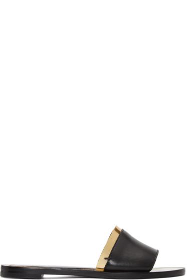 Lanvin - Black & Gold Flat Sandals