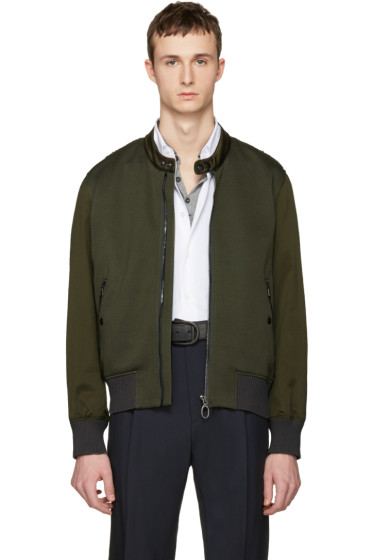 Lanvin - Green Satin Combo Bomber Jacket