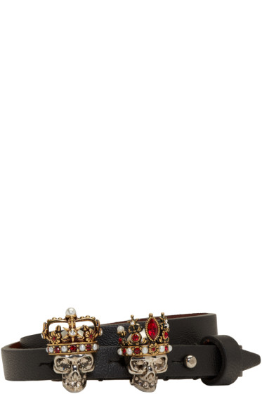 Alexander McQueen - Black King & Queen Double-Wrap Bracelet